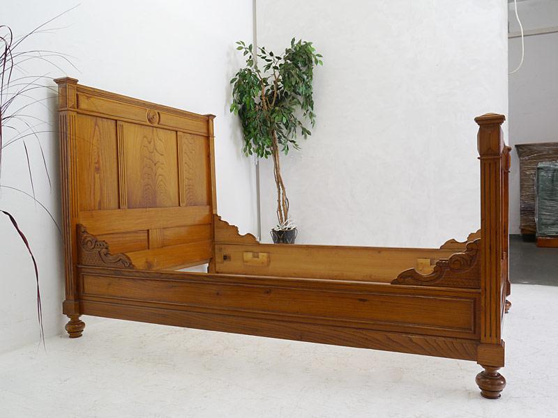 Bett Bettrahmen Bettgestell Einzelbett Antik Historismus um 1900 Rüster (6515) – Bild 2