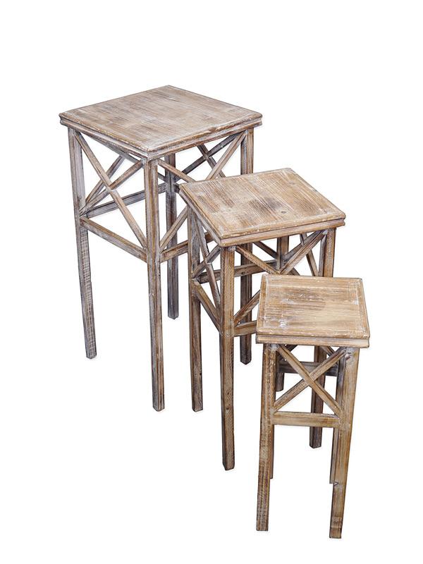 Beistelltisch Tisch Blumentisch 3-er Set Antik Stil Holz H: 70/60/50 cm (6561) – Bild 1