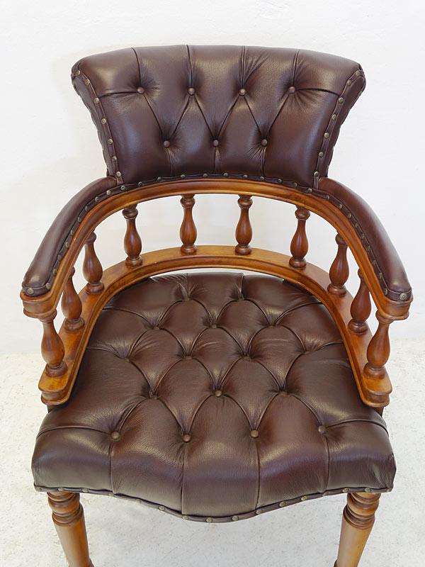 Stuhl Bürostuhl Armlehnstuhl Massivholz Chesterfield Design braunes Leder (6570) – Bild 2