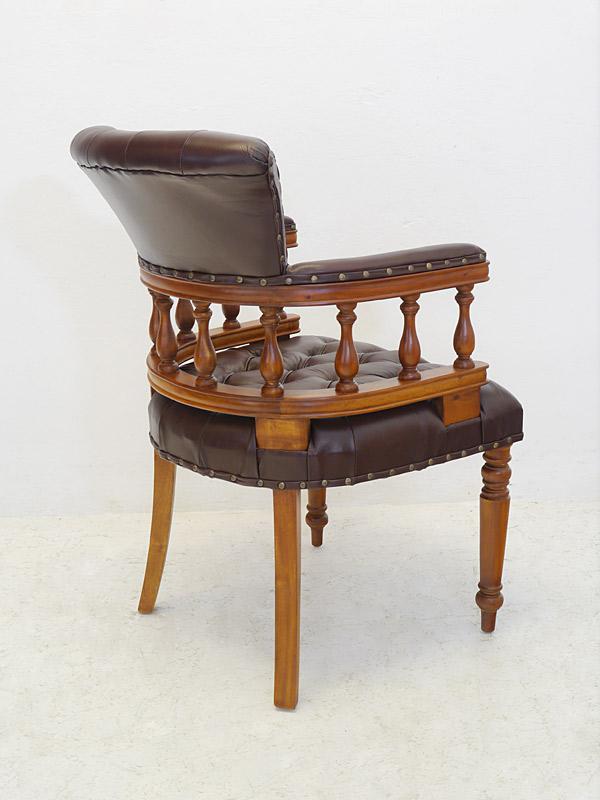 Stuhl Bürostuhl Armlehnstuhl Massivholz Chesterfield Design braunes Leder (6570) – Bild 4