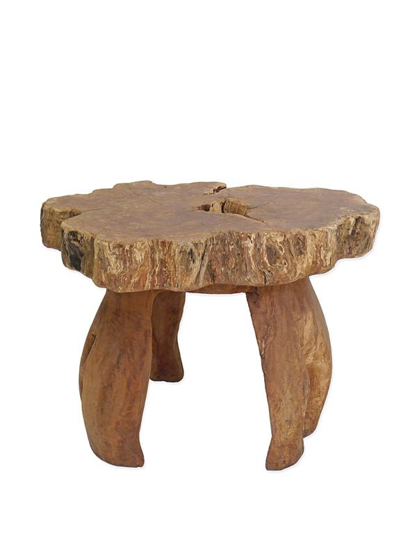 Tisch Gartentisch Esstisch Teakholz in wildwüchsiger Ausführung H:75 cm (6591) – Bild 1