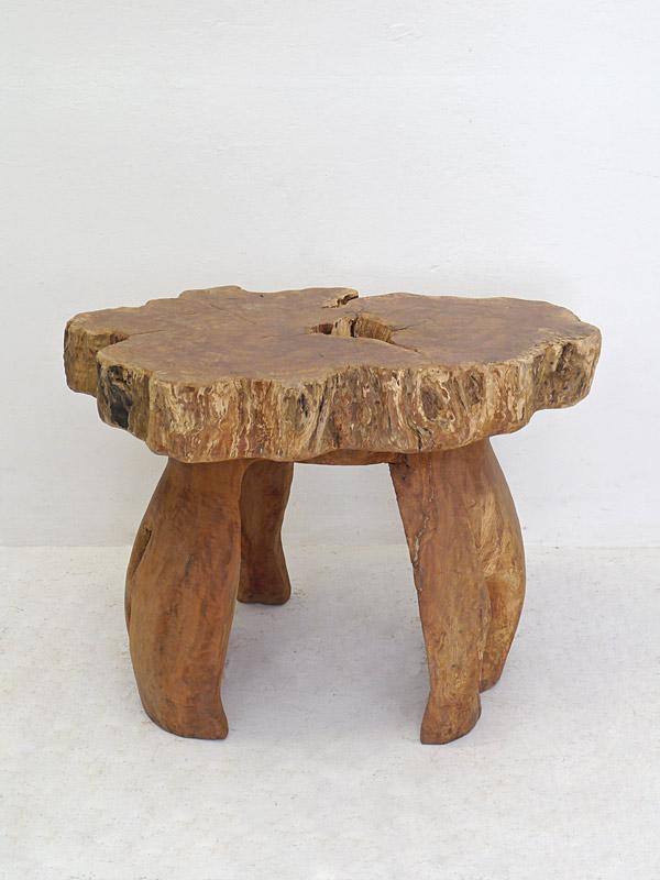Tisch Gartentisch Esstisch Teakholz in wildwüchsiger Ausführung H:75 cm (6591) – Bild 2