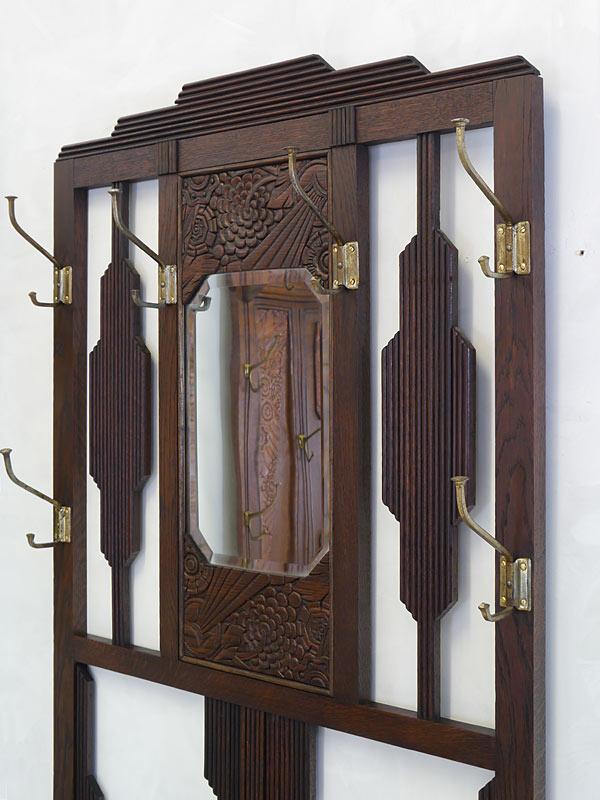 Garderobe Flurgarderobe Wandgarderobe um 1930 aus Eiche massiv B: 74 cm (6606) – Bild 3