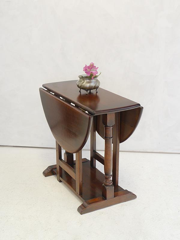 Tisch Gateleg Klapptisch Antik Stil massiv Eiche ausklappbar 31/57/83 cm (6615) – Bild 5