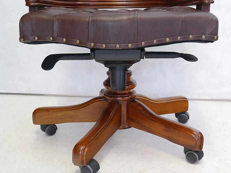 Schreibtischsessel Bürostuhl Chefsessel Captain Chair mit braunem Leder (6624) – Bild 6