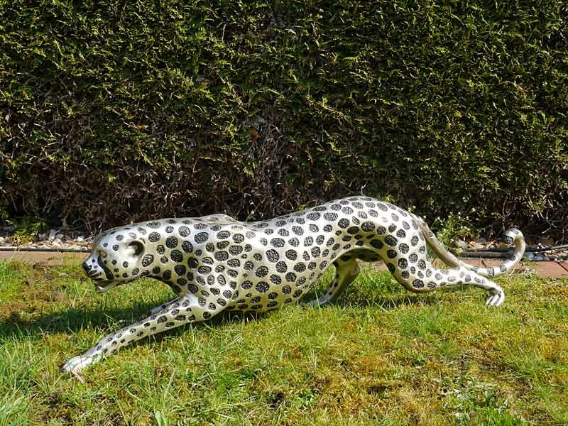 Figur Skulptur Statue Gepard Cheetah Bronzeskulptur in silber L: 110 cm (6633) – Bild 3