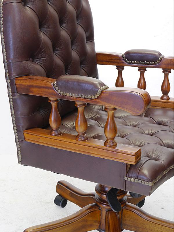 Bürostuhl Drehstuhl Chefsessel Chesterfield Stil Massivholz braunes Leder (6654) – Bild 5