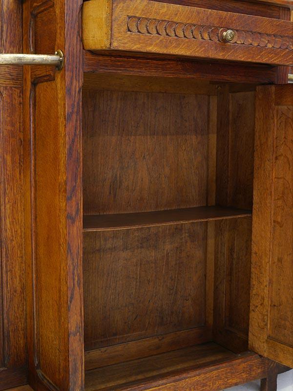 Garderobe Wandgarderobe Flurgarderobe Antik um 1900 aus Eiche B: 117 cm (6678) – Bild 7