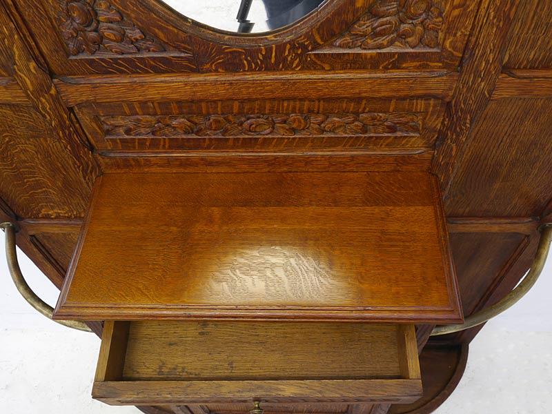 Garderobe Wandgarderobe Flurgarderobe Antik um 1900 aus Eiche B: 117 cm (6678) – Bild 4