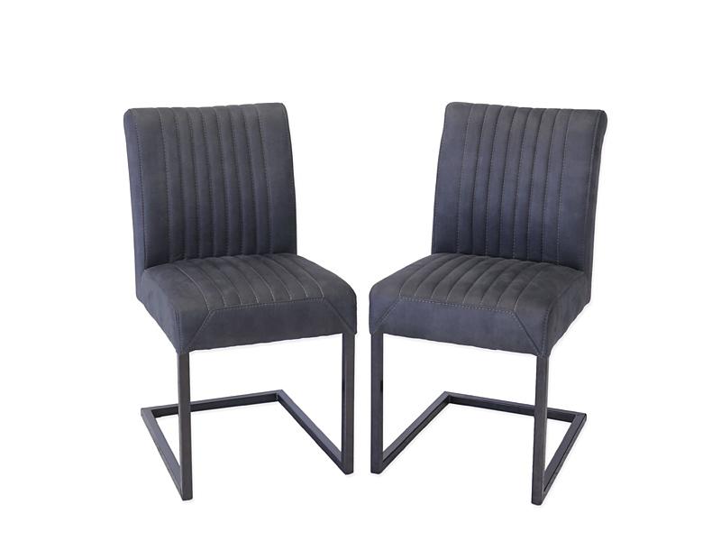 2 Stühle Lehnstühle Industrie-Style Metallgestell Leder-Optik anthrazit (6681) – Bild 1