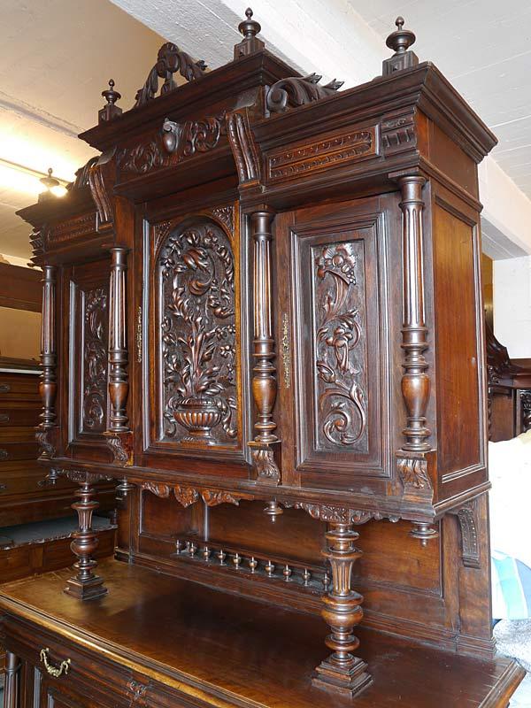 Buffetschrank Schrank Küchenschrank Antik um 1880 Nussbaum B: 150 cm (6701) – Bild 4