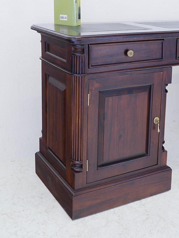 Schreibtisch Büroschreibtisch Büromöbel Antik Stil massiv Lederauflage (6708) – Bild 6