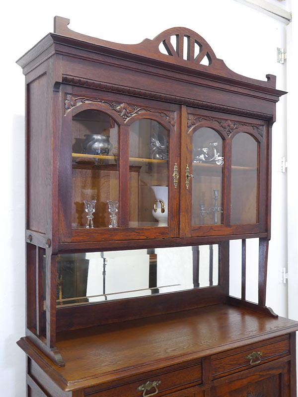 Buffet Küchenschrank Buffetschrank Jugendstil um 1900 aus Eiche B: 120 cm (6716) – Bild 4