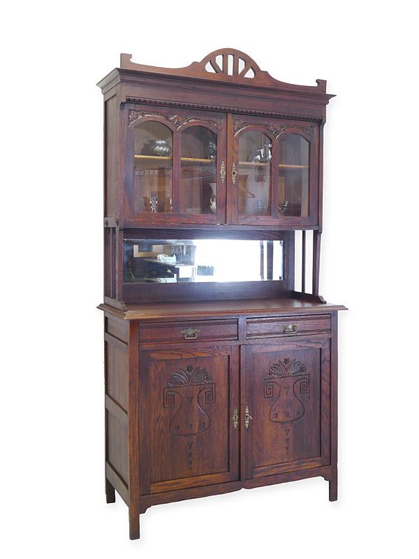 Buffet Küchenschrank Buffetschrank Jugendstil um 1900 aus Eiche B: 120 cm (6716) – Bild 1