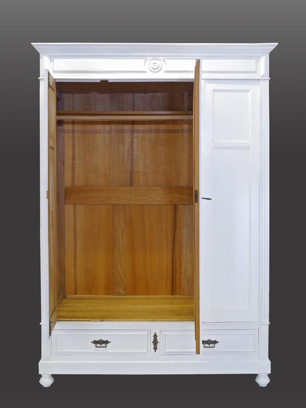 Kleiderschrank Spiegelschrank Garderobenschrank Antik in weiß B: 151 cm (6734) – Bild 3