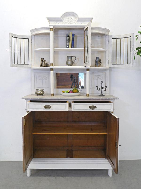 Buffet Buffetschrank Küchenschrank um 1920 in Shabby Chic weiß B: 121 cm (6737) – Bild 3