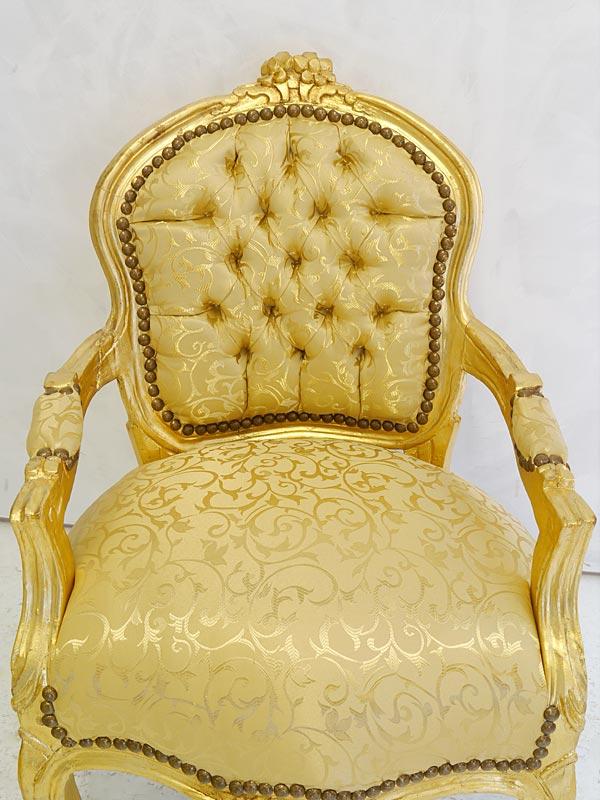 Sessel Kinder Sessel Armlehnstuhl Sitzmöbel im Barock Stil in Gold (6739) – Bild 3