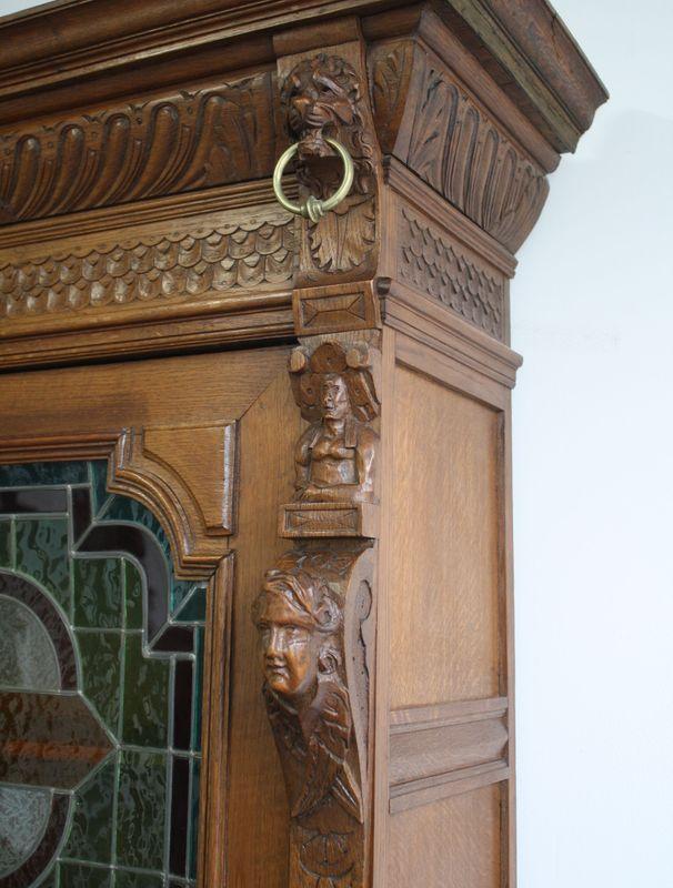 antiker Wohnzimmerschrank aus Eiche – Bild 9