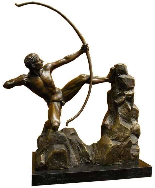 Bronze Figur Bogenschütze auf edlem Marmorsockel (772) – Bild 1