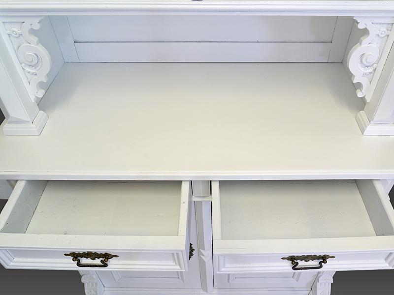 Buffet Buffetschrank Küchenschrank Gründerzeit um 1880 in weiß B: 117 cm (8224) – Bild 7