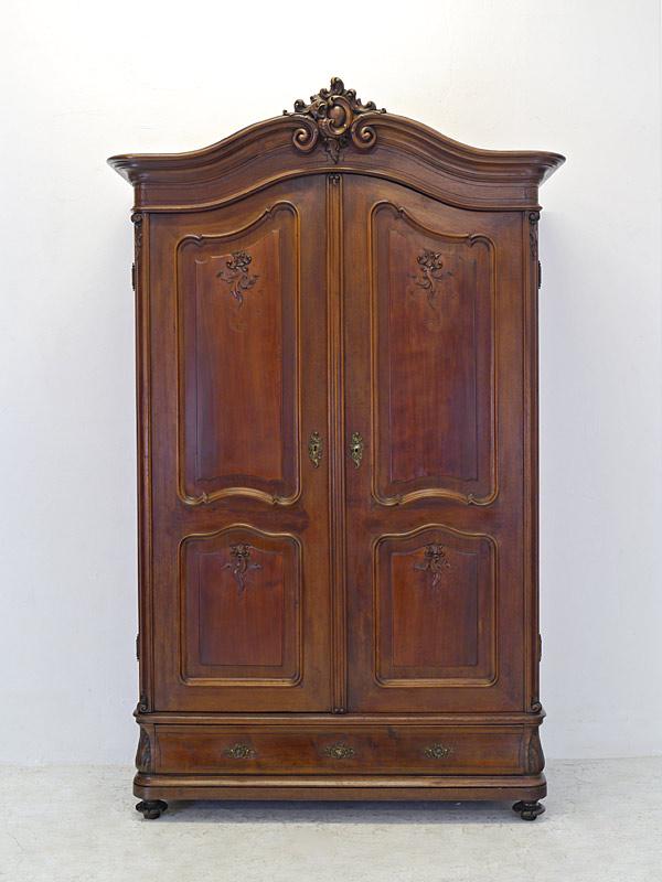 Kleiderschrank Dielenschrank Schrank Louis Philippe um 1860 Nussbaum (8230) – Bild 2