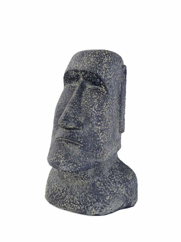Skulptur Statue Büste Moai-Kopf große Betonfigur in anthrazit 63x40x36 cm (8269) – Bild 1