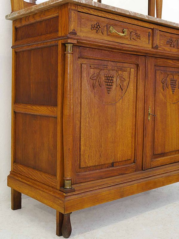 Buffet Buffetschrank Küchenschrank Antik um 1920 massiv Eiche B: 120 cm (8306) – Bild 7