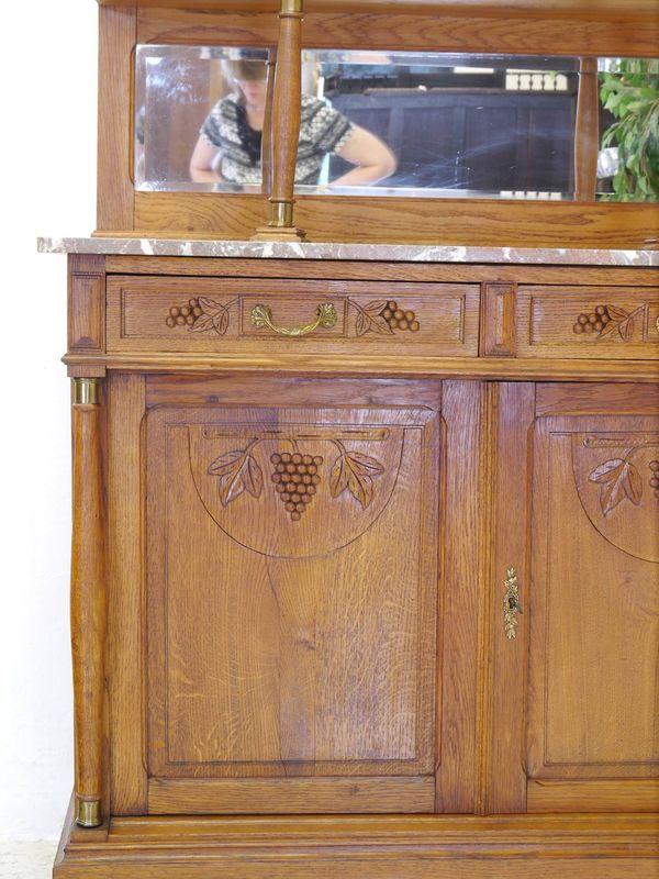 Buffet Buffetschrank Küchenschrank um 1920 aus massiver Eiche B: 120 cm (8310) – Bild 10