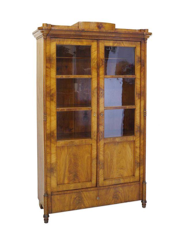 Schrank Vitrinenschrank Bücherschrank Biedermeier um 1840 Kirsche B:108cm (8353) – Bild 1