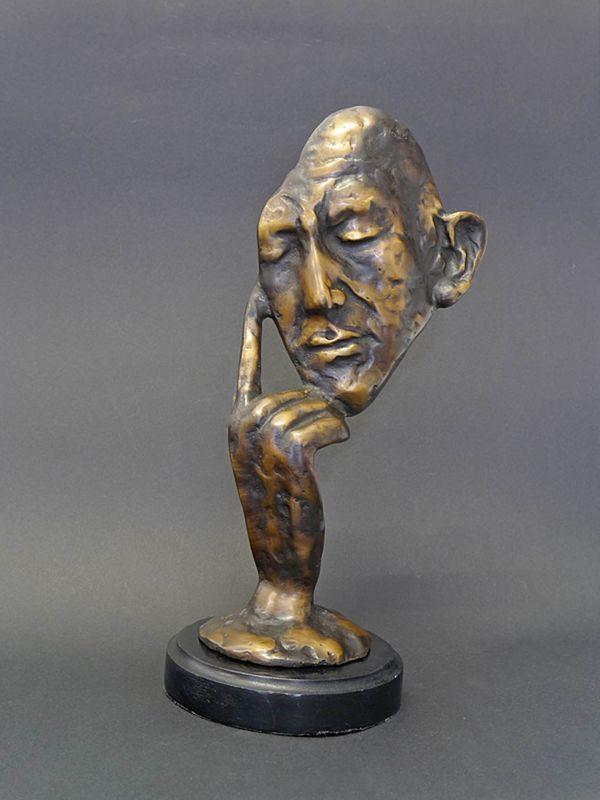 Skulptur Bronzefigur Mann Maske Denker Bronze auf Marmorsockel H: 32 cm (8362) – Bild 1