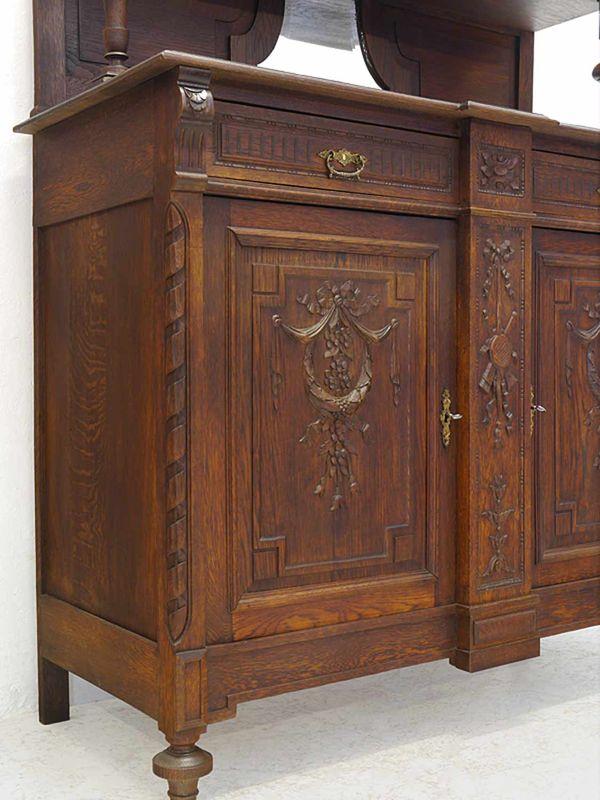 Anrichte Sideboard Schrank mit Aufsatz Antik um 1880 aus Eiche B: 130 cm (8378) – Bild 6