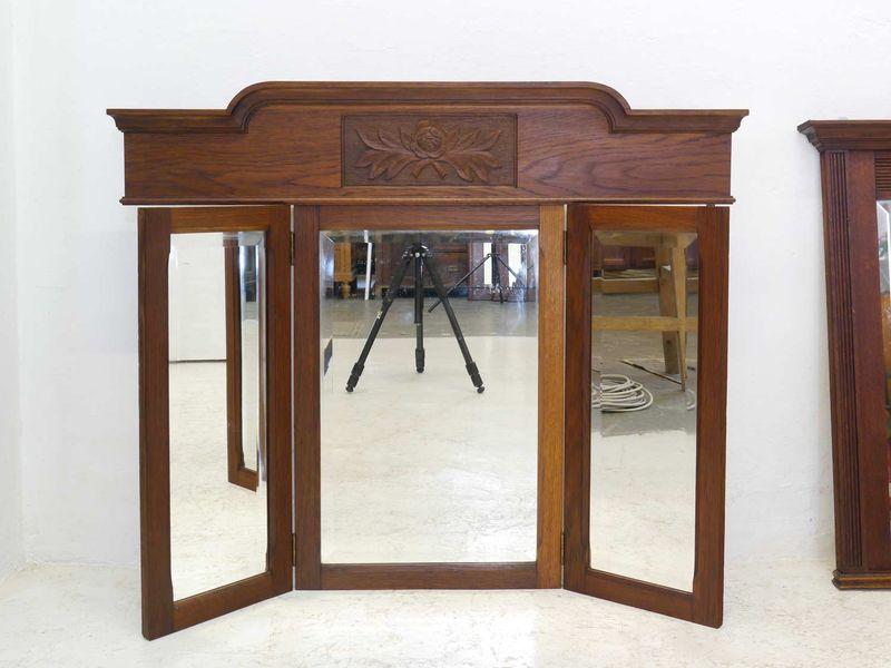 Spiegel Wandspiegel Frisierspiegel Antik um 1930 Eiche 3-teilig klappbar (8387) – Bild 2