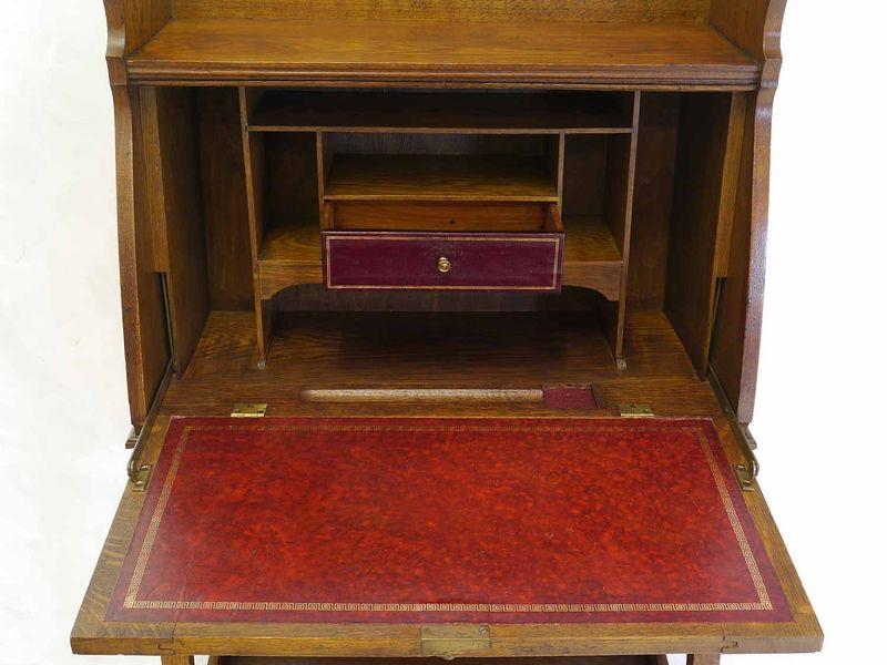 Sekretär Schreibmöbel Schreibsekretär antik um 1920/30 Eiche 124x61x33 cm (8389) – Bild 4