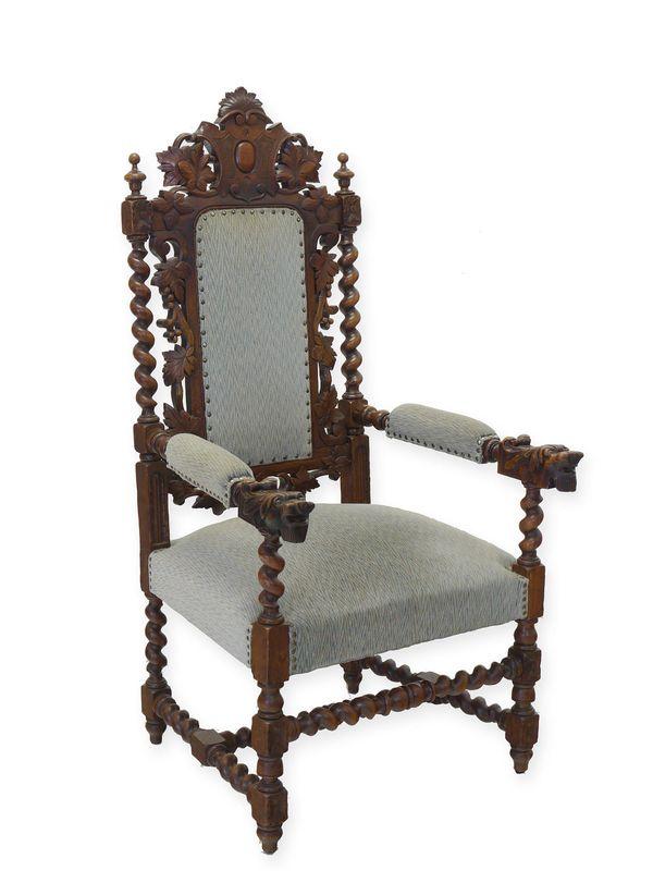 Sessel Fernsehsessel Relaxsessel Gründerzeit um 1880 aus Eiche massiv (8398) – Bild 1