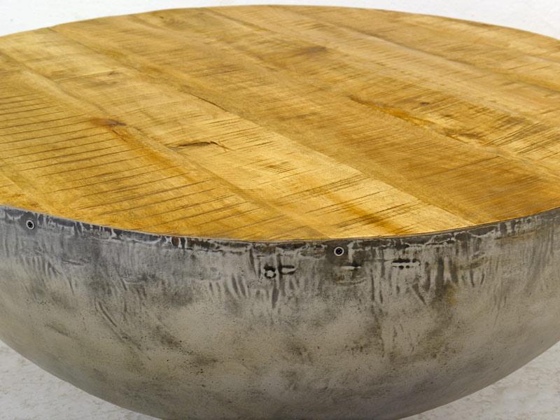 Tisch Wohnzimmertisch Couchtisch Industrie Style mit Mangoholz D: 38 cm (8407) – Bild 3