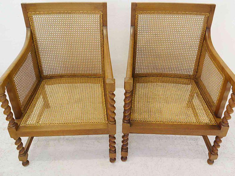 2 Armlehnstühle Sessel Clubsessel 30er Jahre aus Eiche mit Geflecht (8409) – Bild 3