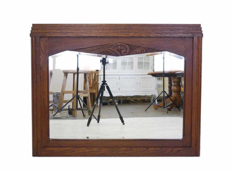 Spiegel Wandspiegel Garderobenspiegel antik um 1920 Eiche massiv B: 105cm (8414) – Bild 1