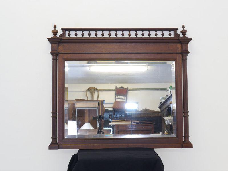 Spiegel Wandspiegel Garderobenspiegel Gründerzeit um 1880 Eiche massiv (8417) – Bild 2