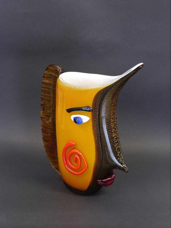Vase Blumenvase Dekoration Murano Style abstrakte Glaskunst H: 22,5 cm (8438) – Bild 1