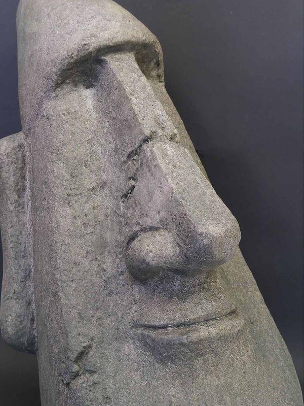 Skulptur Statue Büste Moai-Kopf große Kunststoff-Figur anthrazit H: 62 cm (8440) – Bild 3