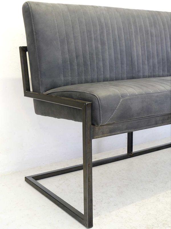 Bank Sitzbank Industrie-Style Metallgestell Wildleder-Optik grau (8450) – Bild 2