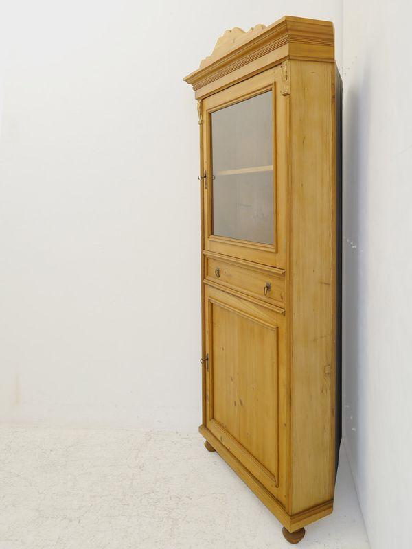 Eckschrank Eckvitrine  Repro im Gründerzeit Stil aus altem Weichholz (8477) – Bild 3