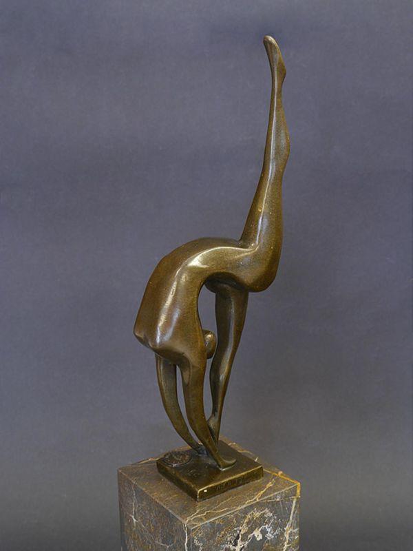 Bronze Figur Skulptur turnende Frau auf Marmorsockel modern 36x7,5x7,5 cm (8506) – Bild 2