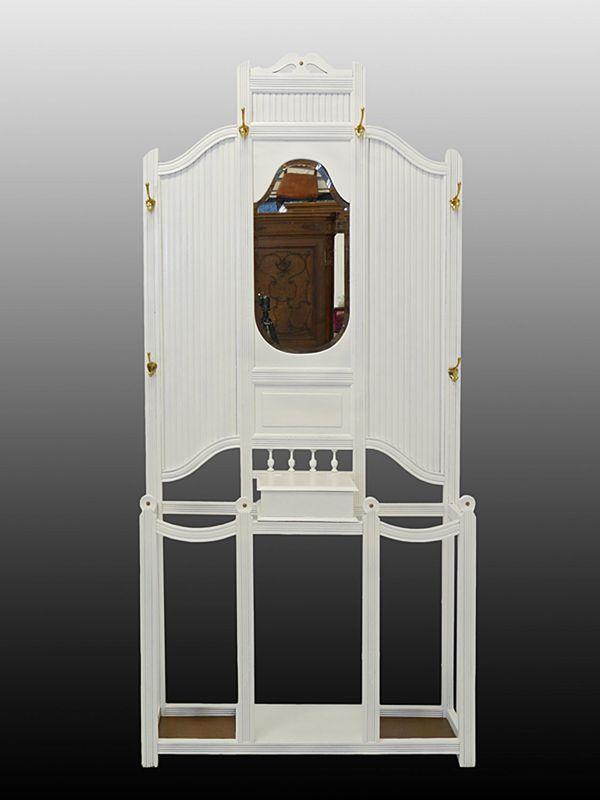 Garderobe Wandgarderobe Flurgarderobe Antik um 1920 in weiß B: 95 cm (8528) – Bild 1