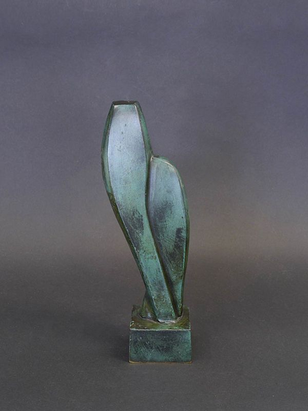 Bronze Figur Statue Dekoration 2 Köpfe Pärchen grün patiniert 22x8x5 cm (8546) – Bild 2