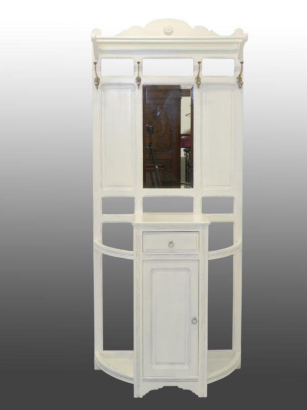 Garderobe Wandgarderobe Flurgarderobe um 1920 Shabby Chic weiß lackiert (8547) – Bild 2