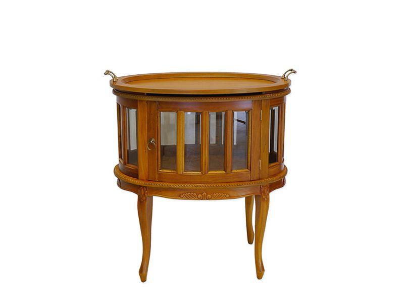 Beistelltisch Teeschrank Barschrank Antik Stil Massivholz oval Cherry (8551) – Bild 1