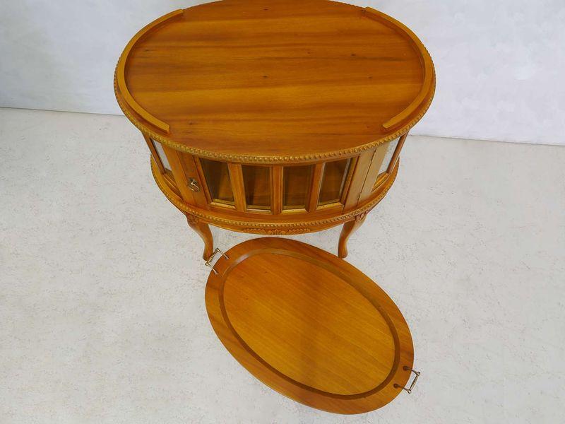 Beistelltisch Teeschrank Barschrank Antik Stil Massivholz oval Cherry (8551) – Bild 2