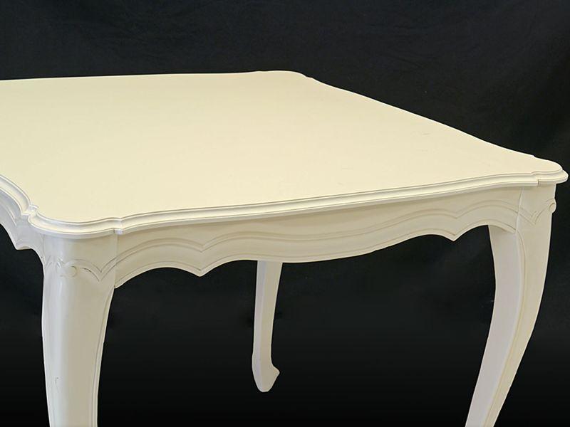 Tisch Esstisch Esszimmertisch Antik Stil massiv in Cremeweiß 77x90x90 cm (8560) – Bild 3