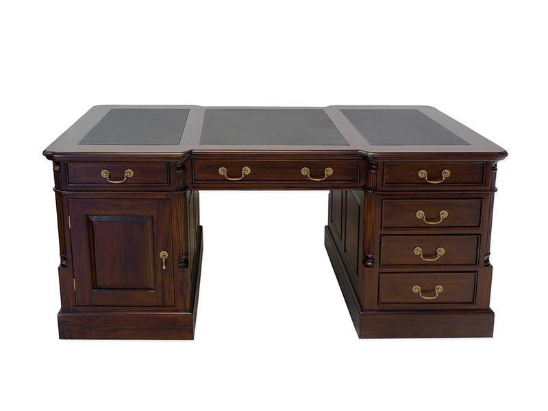 Partner-Schreibtisch massiv schwarzes Leder B:180cm (8569) – Bild 1
